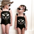 BAICLOTHING 2017 New Cute children one piece swimsuit cartoon black Cat baby girl swimwear conjoined swimsuit