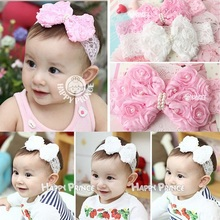 Baby lace hairbands New bownot head band kids infant accessories Cute girl enfant girls loves flower headwraps bebes HB037