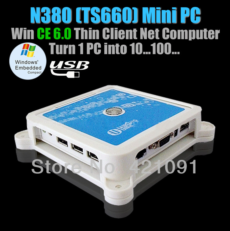 TS660 ( N380 ) Win CE 6.0 Thin Client Net Computer Share Sharing Station Network Terminal with 3 USB Ports(China (Mainland))