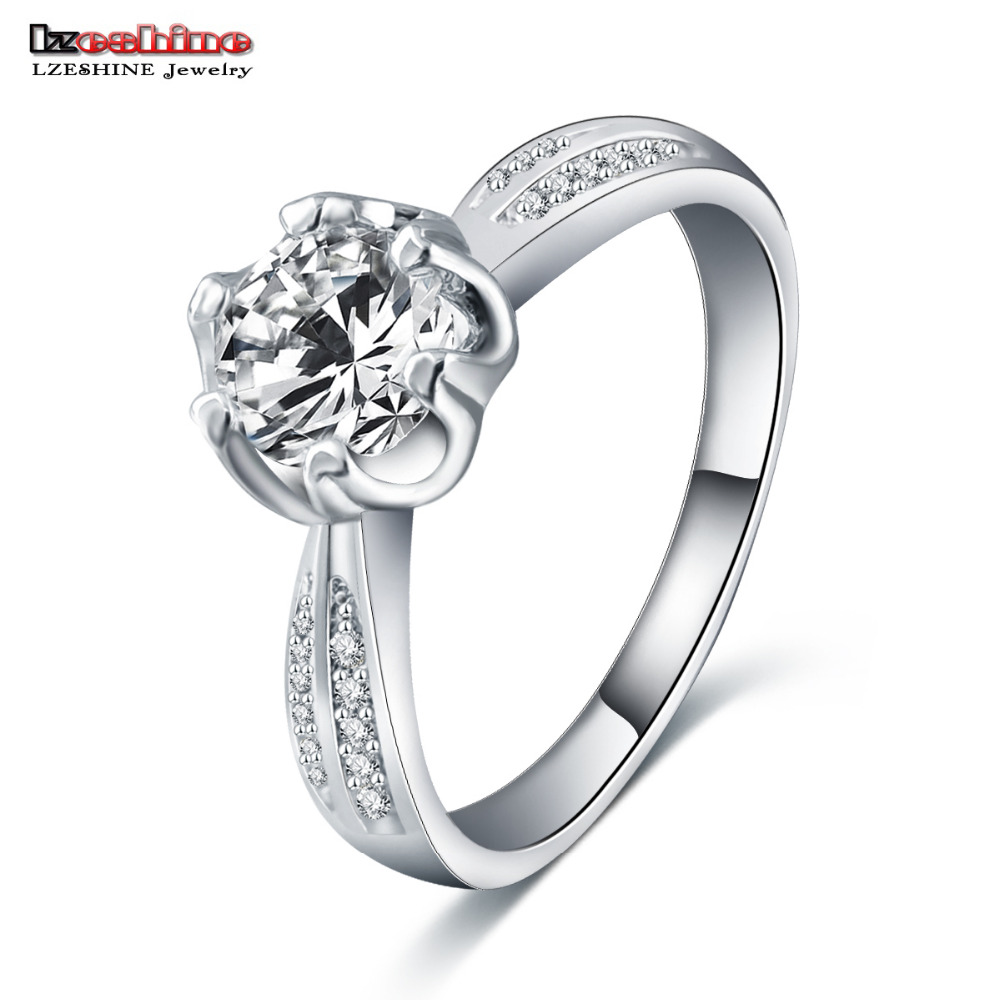 Aliexpress Buy LZESHINE New Hot Sale Luxury Band Ring Silver Plated Pav