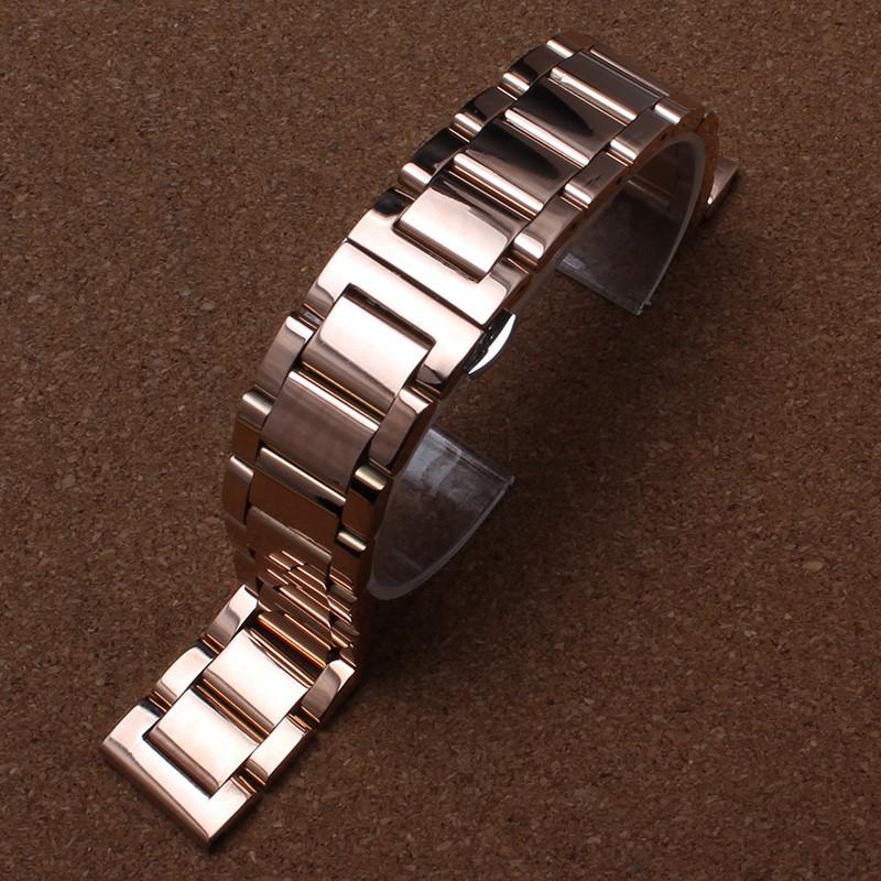 Роуз замена браслет новых ремешок для часов ремни 18 мм 20 мм 22 мм из нержавеющей стали твердые ссылка мода мужские часовка аксессуары