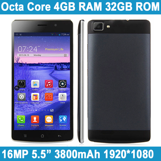 Original Smartphone 4G LTE MTK6592 Octa Core Dual SIM 5.5 Inch 4GB RAM 32GB ROM 16MP Cell Mobile Phone Android Russian Luanguage(China (Mainland))