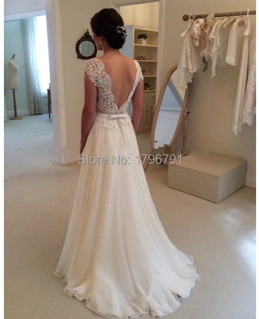 New 2016 Sexy Open Back Elegant Bridal Gown Cap Sleeve Appliques Scoop Neckline Floor-Length Chiffon A-Line Wedding Dresses 2016