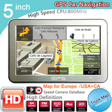 New 5 inch HD Car GPS Navigation CPU 800MHZ FM/8GB/DDR3 2016 Maps For Europe/USA+Canada TRUCK Navi(China (Mainland))