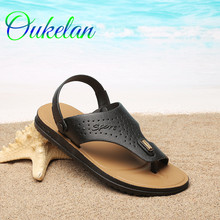 Wholesale Summer Korean Style Mens Brand PU Leather Casual Slipper Flip Flops Sandals Beach Shoes Black/Brown