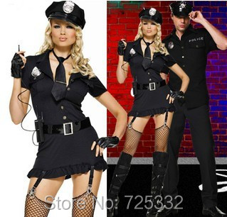 Sexy police women costume role playing Black Cop Costume with Button Front Dress Hat Fingerless Gloves Tie and Belt + Thong(China (Mainland))