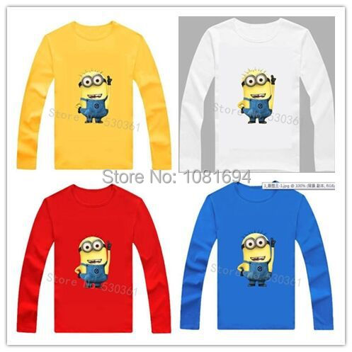 Wholesale New 2015 cartoon anime figure despicable me minions clothes minion costume children's clothing children t shirts(China (Mainland))