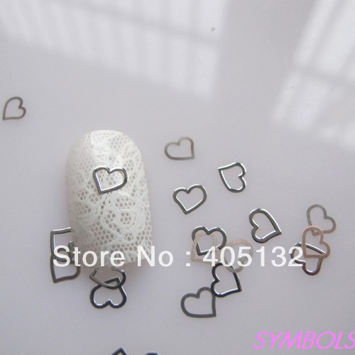 MS-166-1 Free Shipping Metal Silver Heart Nail Art Metal Sticker Nail Art Decoration Fancy Outlooking(China (Mainland))
