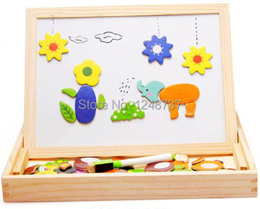 Magnetic Wooden Toys For Kids/ Child/ Children Double-faced 3d animal Puzzle, Baby Gift/ educational toys, Free Shipping<br><br>Aliexpress