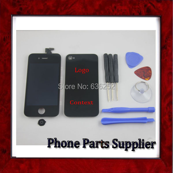 100% Original Black LCD Digitizer Assembly+Touch Screen with Home Button+Back Cover For iphone 4 4g LCD+Tools+3M Free Shipping(China (Mainland))