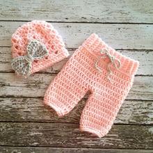 Newborn Unisex Boy Girls Clothings Bowknot Hat beanie pants Baby Photography Prop Handmade Crochet Knitted Costume Baby Gift(China (Mainland))