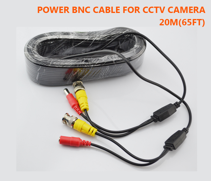 Surveillance Camera Cable Ends : M ft video cctv camera cable bnc connector dc power