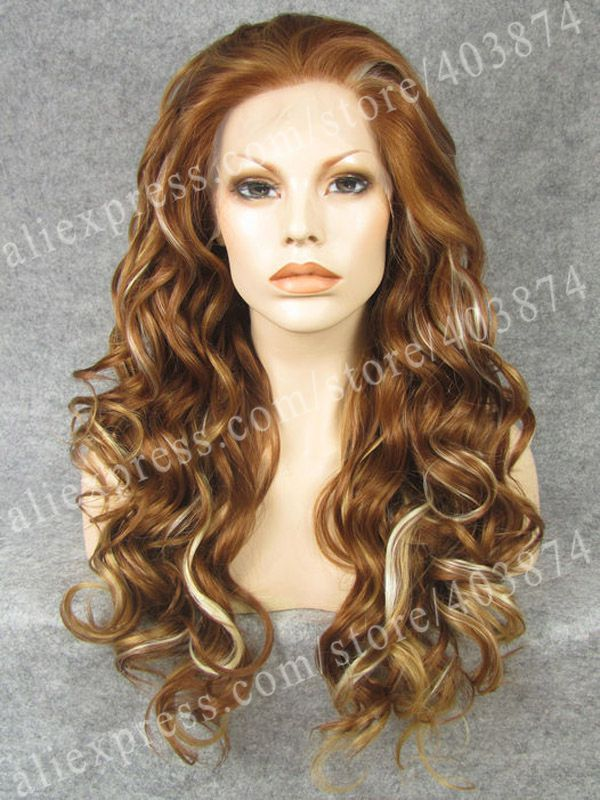 Retail/Wholesale  Promotion  N8-30Y/27HY/613   24inch/60cm  Fashion Long Wavy  Multi-Color  Synthetic Lace Front Wig<br><br>Aliexpress