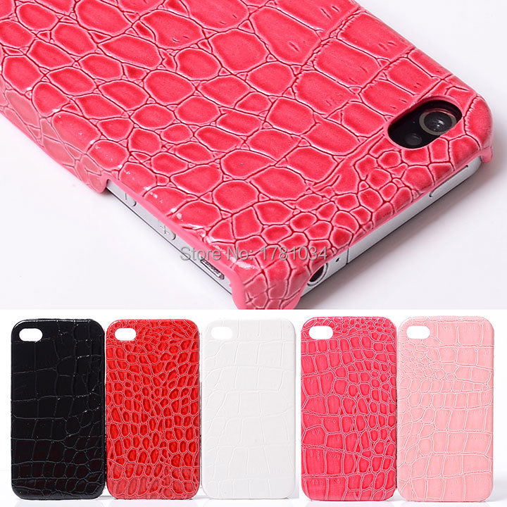 Luxury Alligator crocodile skin Lady Shell Impact Rugged hard plastic protective Case Cover For iphone 4 4S 4G Back Cover(China (Mainland))