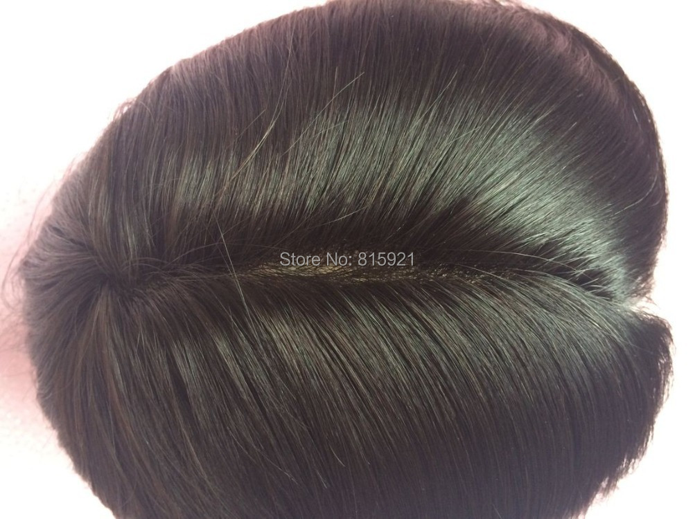 Remy Hair Piece Toupee 160% Density Natural Black Color European Men - EJS Shop store