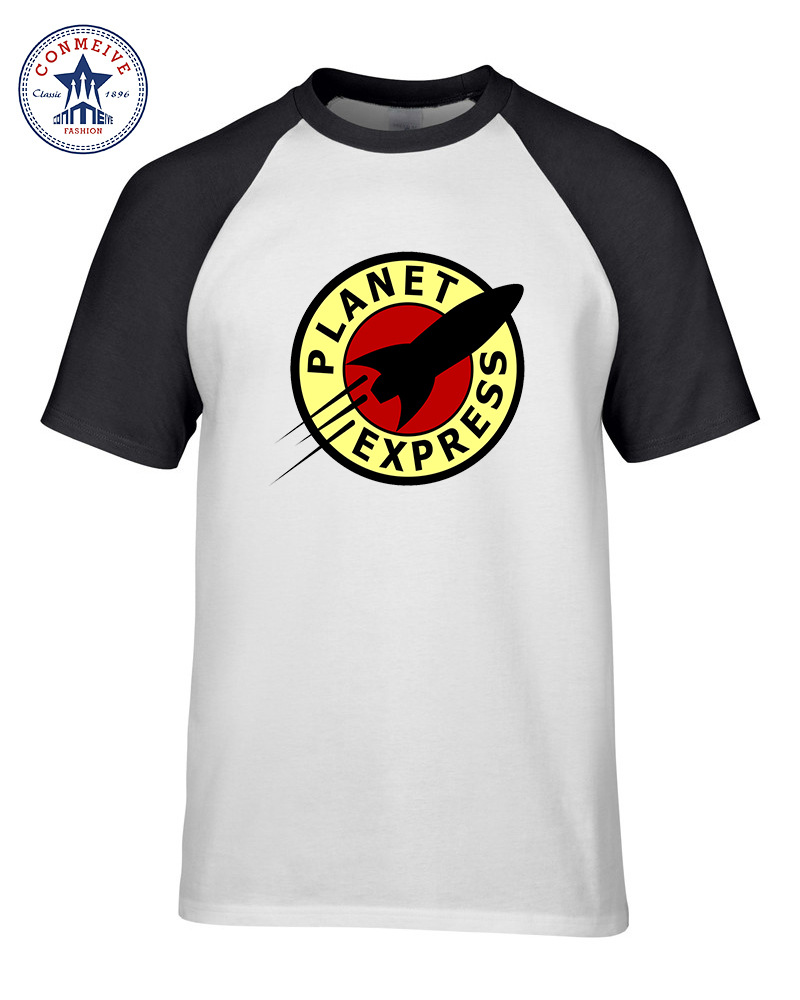 White t shirt express - Hot Sale Mix Color Clothes Casual Futurama Planet Express Cotton Funny T Shirt For Men Short Sleeve