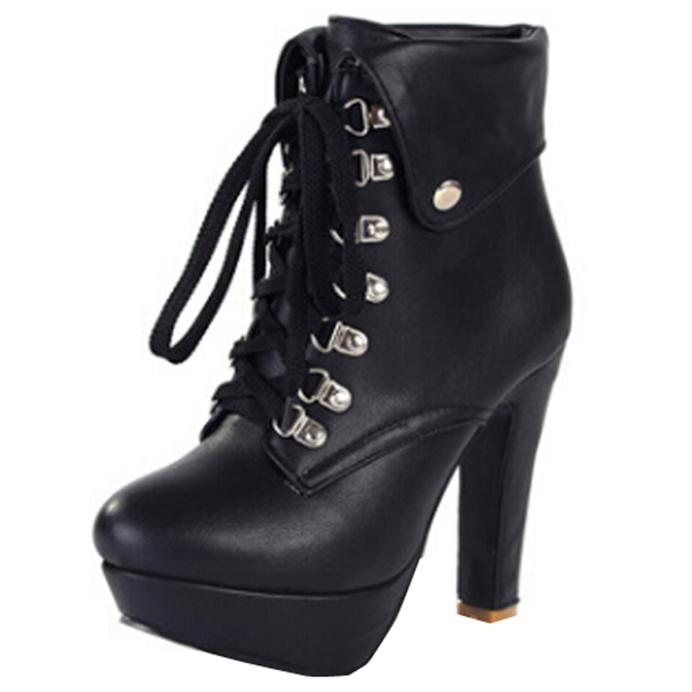 Фотография 34-43 Korea 2015 Winter Fashion High Heel Women Ankle Boots Top PU Leather Short Boots Women