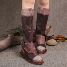 2015 Winter New Arrival Women Boots Platform Flat Heels Buckle Decoration Fur Genuine Leather High Boots