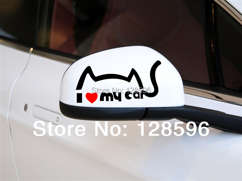 2pcs I Love My Cat Car Rearview Mirror Stickers Car Decorations Reflective Decal Hot Cool(China (Mainland))