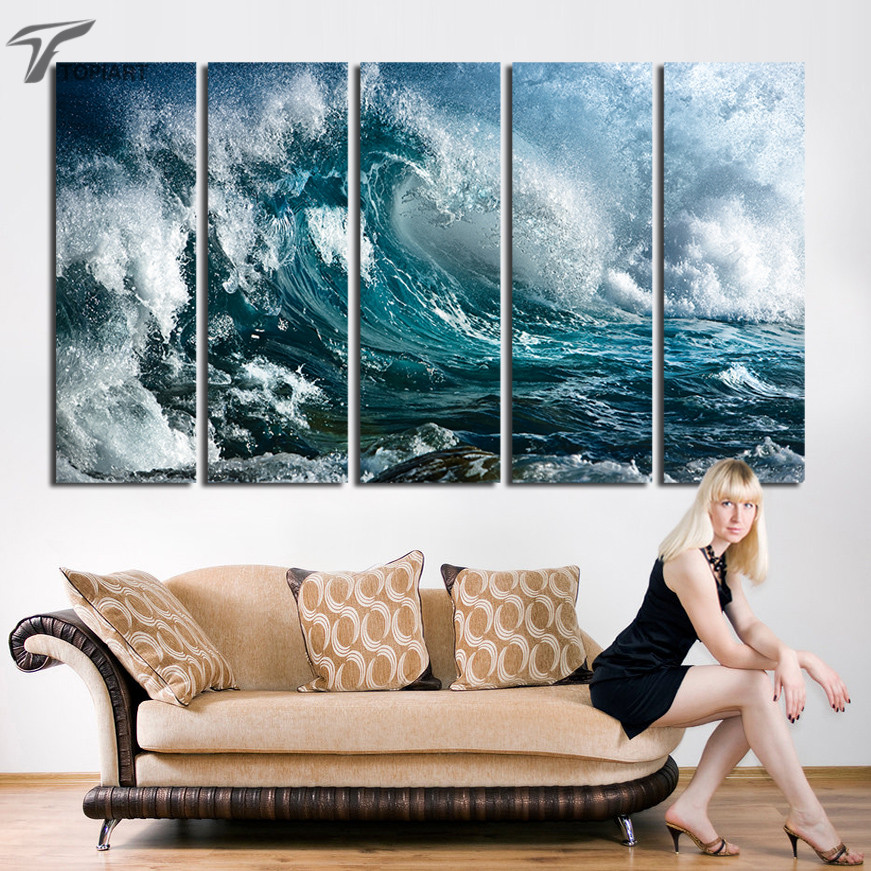 large wall art great wave canvas print sea storm night seascape decorative wall painting pictures home decor frame not include