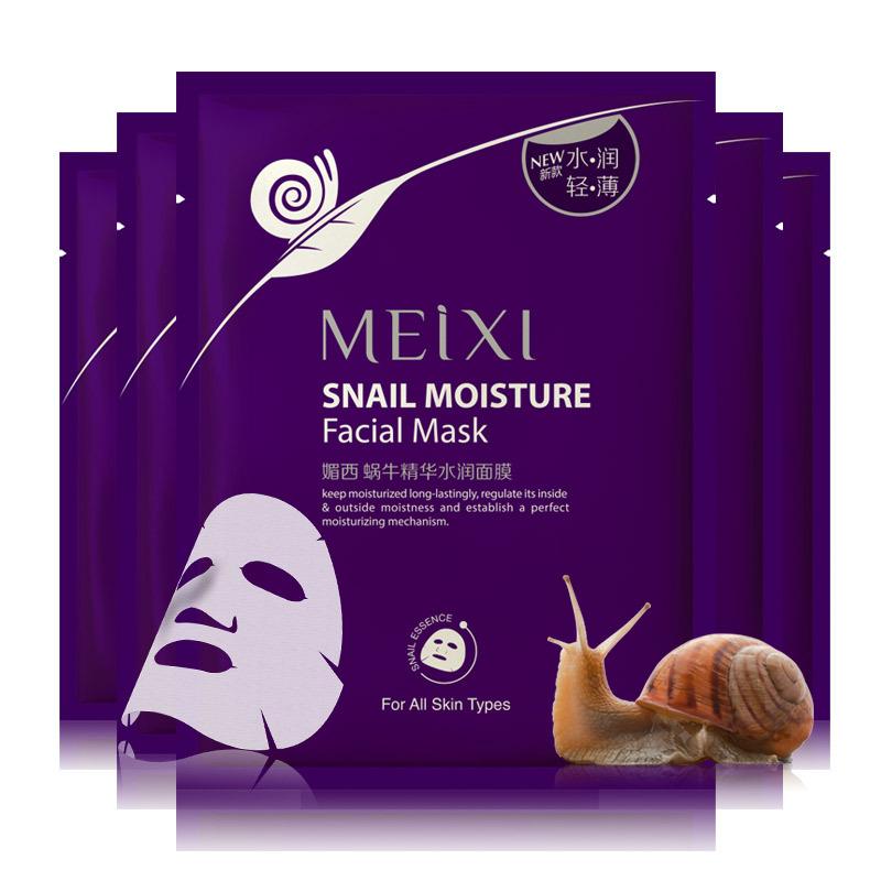 Free Shipping MEIXI Korea WHITE Snail Face Care Mask Skin Care Collagen Mask Whitening Snail Silk Mask 2015 Hot Sale 10 PCS(China (Mainland))