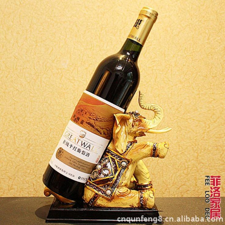 wine Lucky elephant resin crafts are red wine wine furniture wholesale bar wine holder bottle(China (Mainland))