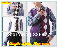 Free Shipping Spring/Autumn Mens Korean Style Fashion V-Neck Sleeveless Diamond Vest/Sweater QR-2220(China (Mainland))