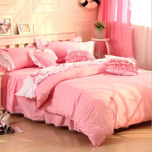 Guaranteed 100% Cotton bedding set princess lace bed linen bed set pillowcase quilt cover duvet cover set twin queen king size(China (Mainland))