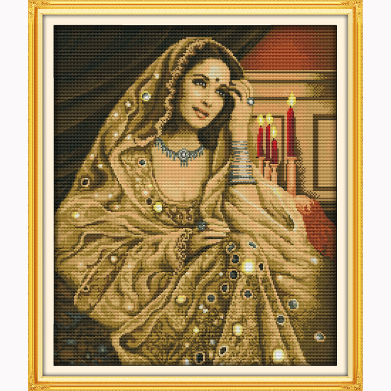 Indian beauty portrait Stitch Needlework,DIY DMC Cross stitch Sets For Embroidery kits Counted Cross-Stitching 14ct 11ct printed(China (Mainland))