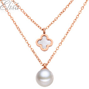 Perfectly Round Real Natural Pearl Necklace Titanium Chain 43cm&Genuine Pearl Choker Double Strands Chain Jewelry Women Gifts(China (Mainland))