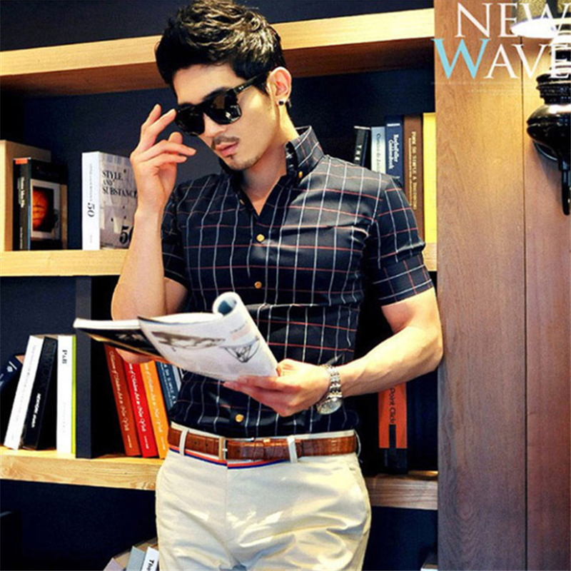 mens casual shirts plaid slim fit shirt short sleeve high quality luxury dress shirts mens designer clothes plus size 4XL X1319(China (Mainland))
