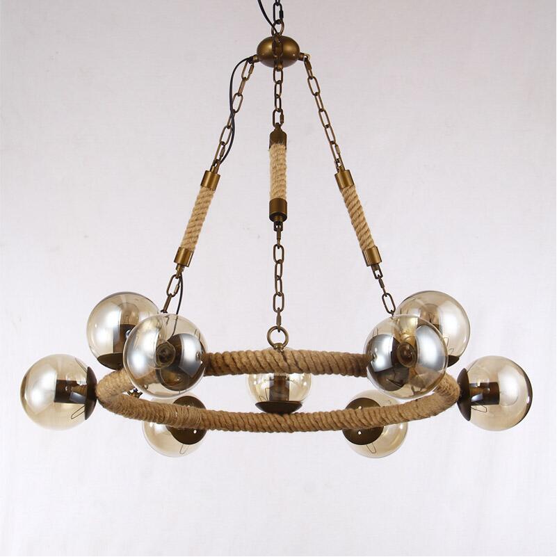 Vintage MODO Pendant Lights Hemp rope Iron art Pendant Lamp Amber Glass Lamp shade Hanging lamp Home Bar Lighting Fixture V031(China (Mainland))