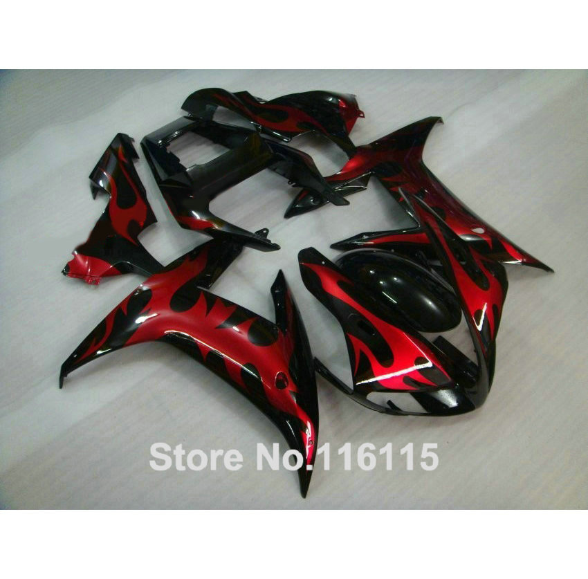 High quality ABS Fairing kit for YAMAHA R1 2002 2003 red flames in black fairings set Injection molding YZF R1 02 03 YZ29