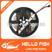HELLO FISH, 5M WS2801 LED strip,Raspberry Pi control LED strip,Arduino development ambilight TV,White or Black PCB(China (Mainland))