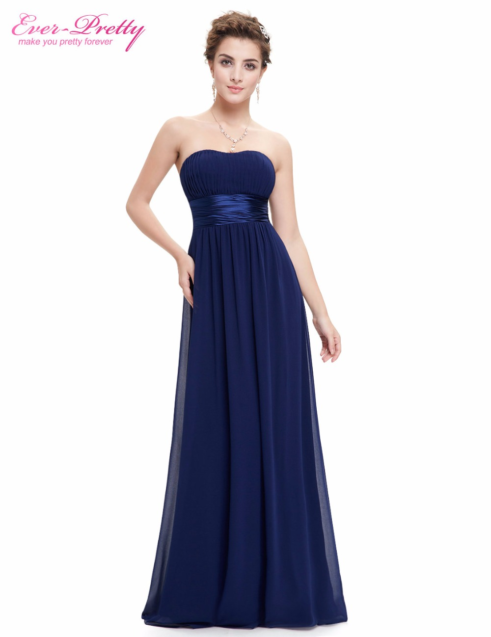 Prom Dresses Ever Pretty HE09955 Strapless Ruched Bust Blue Red Black Chiffon Long vestidos Evening Dresses(China (Mainland))