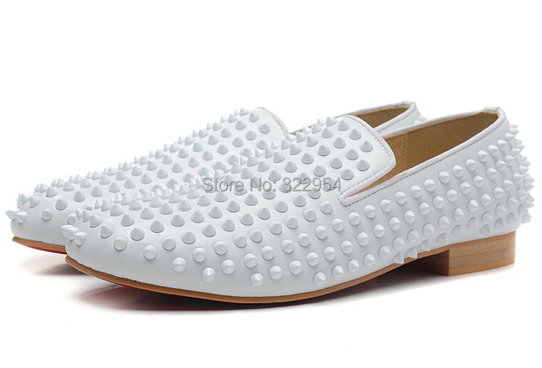Online Shop White leather spikes dress shoes red bottom men shoes ...