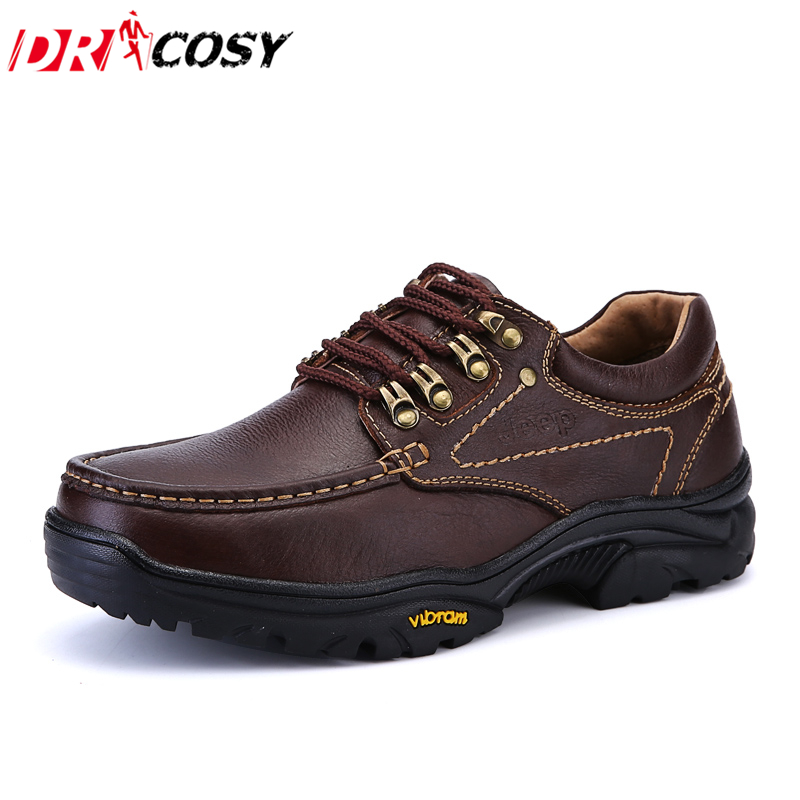 Men'S Genuine Leather Shoes 2016 Autumn Winter Casual Waterproof Ourdoor Work Shoes Men'S Shoes Lace-Up Oxfords Sapatos(China (Mainland))