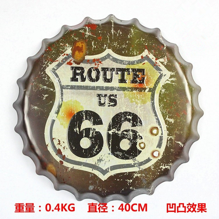 "Direct selling Beer cap painting ""Route US 66"" Vintage Metal signs home decor cafe bar 3D creative decorative arts 40x40 CM(China (Mainland))"