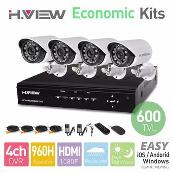 H.View 4CH CCTV System 960H DVR HDMI 4PCS 600TVL IR Weatherproof Outdoor CCTV Camera Home Security System Surveillance Kits