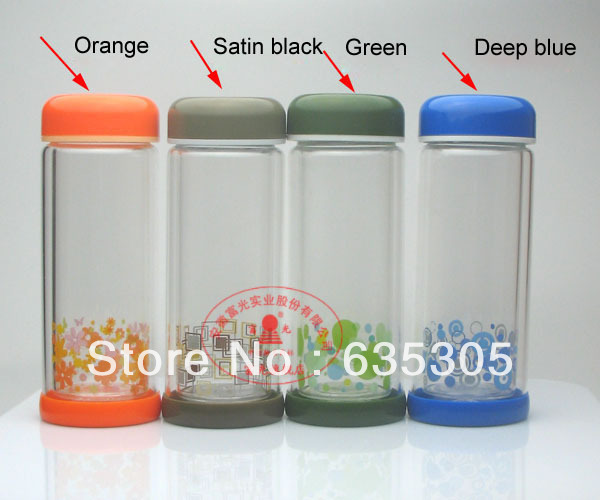 320ml 260-320 colorful double wall glass cup drinking - Hefei green forest trade company store