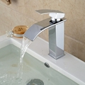 Deck Mounted Wholesale And Retail Promotion Polished Chrome Brass Waterfall Bathroom Basin Faucet Square Vanity Sink
