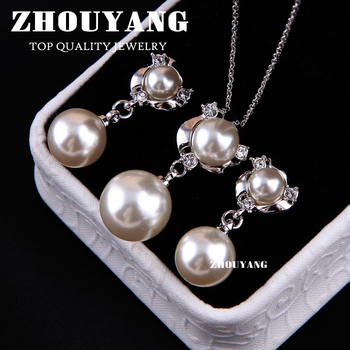 ZYS018 Pearl 18K Platinum Plated Elegant Wedding Jewelry Necklace Earring Set Rhinestone Made with Austrian  Crystals