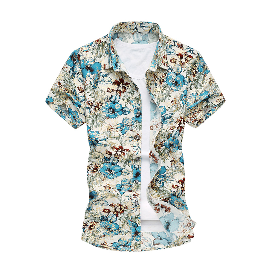 2017 summer mens floral shirts short sleeve hawaiian shirt for Mens short sleeve floral shirt