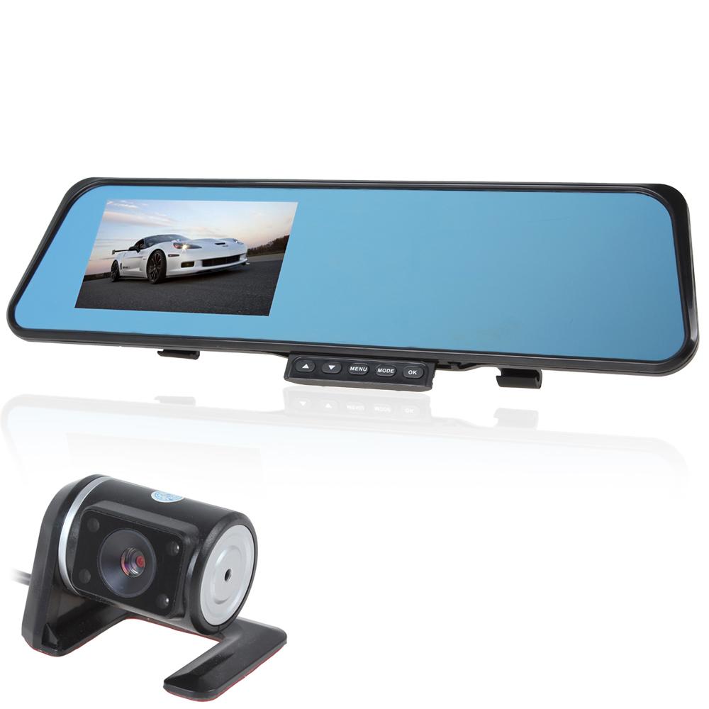 4.3 Inch 1080P Full HD Car DVR Mirror Car Camera Dual Lens G-Sensor IR Night Vision Wide Angle Vehicle Traveling Data Recorder<br><br>Aliexpress