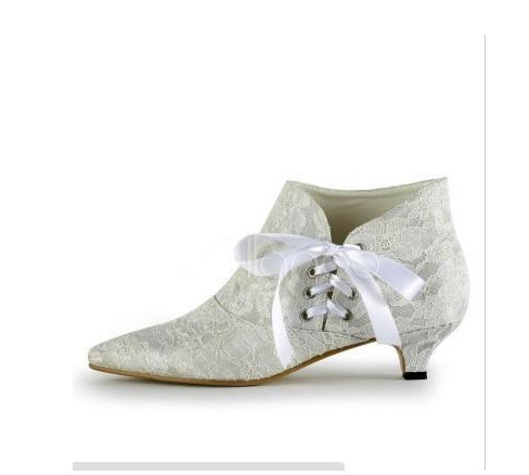 Free shipping white lace sweet white lace satin bow flat shoes ankle boots(China (Mainland))
