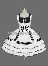 Cheap Black White Sleeveless Lolita Dress $70 - Victorian Prom Party Wedding store