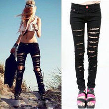 Vintage Black Destroyed Washed Cut-out Punk Ripped Woman Jean Trousers(China (Mainland))
