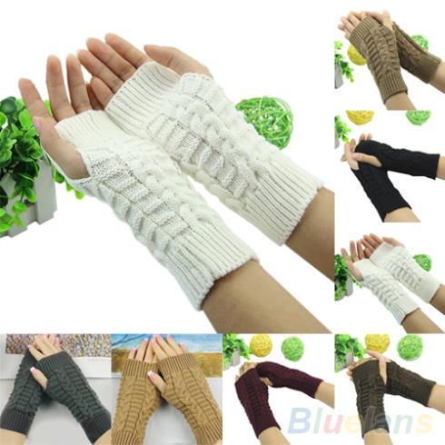 Winter Unisex Arm Warmer Elbow Long Fingerless Mitten Knitted Soft Gloves 1T2L