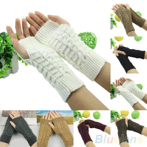 Winter Unisex Arm Warmer Elbow Long Fingerless Mitten Knitted Soft Gloves 1T2L(China (Mainland))