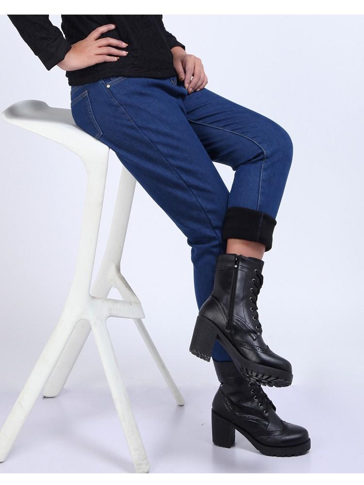 Скидки на 2016 Зима Теплая толстый бархат узкие джинсы Брюки для женщин Плюс размер Синий демин брюки Узкие женские брюки Pantalon Femme